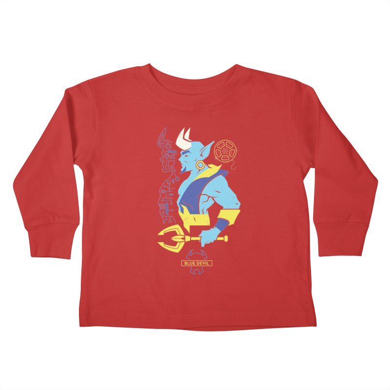 Blue Devil - DC Superhero Profiles Kids Toddler Longsleeve T-Shirt by daab Creative's Artist Shop