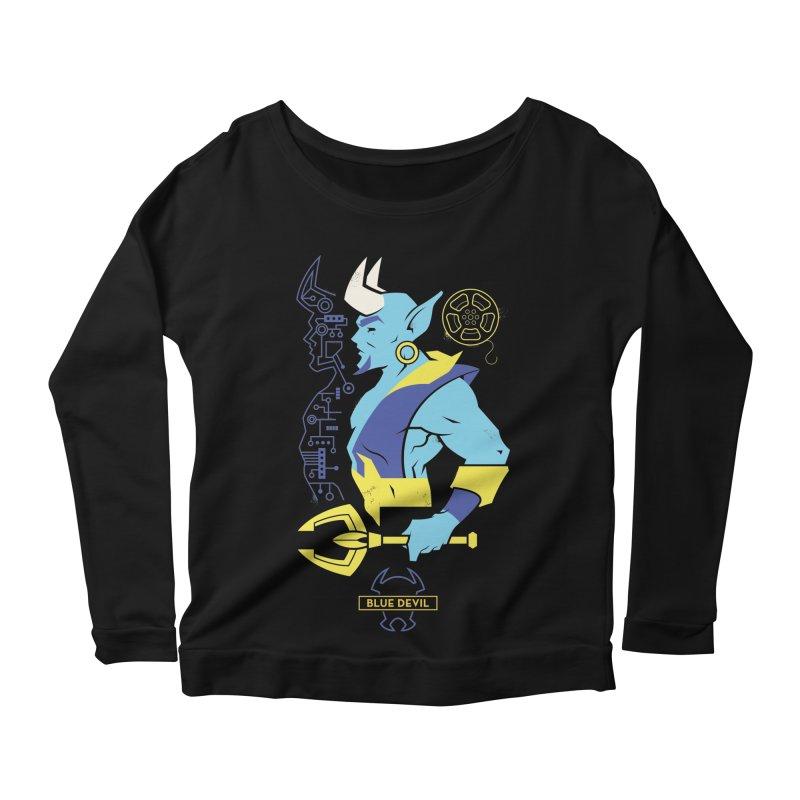 Blue Devil - DC Superhero Profiles Women's Scoop Neck Longsleeve T-Shirt by daab Creative's Artist Shop