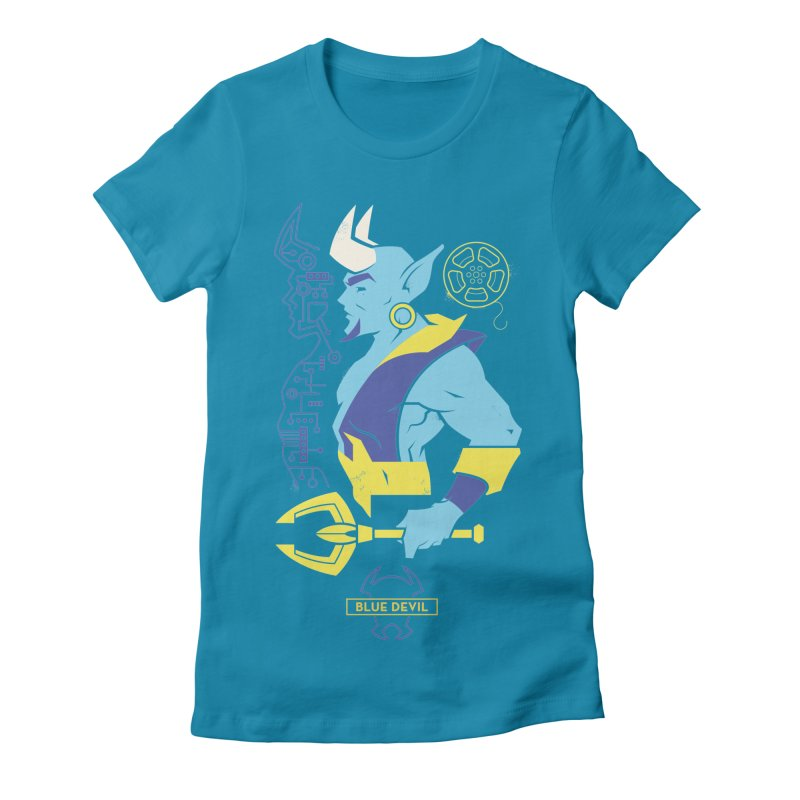 Blue Devil - DC Superhero Profiles Women's Fitted T-Shirt by daab Creative's Artist Shop