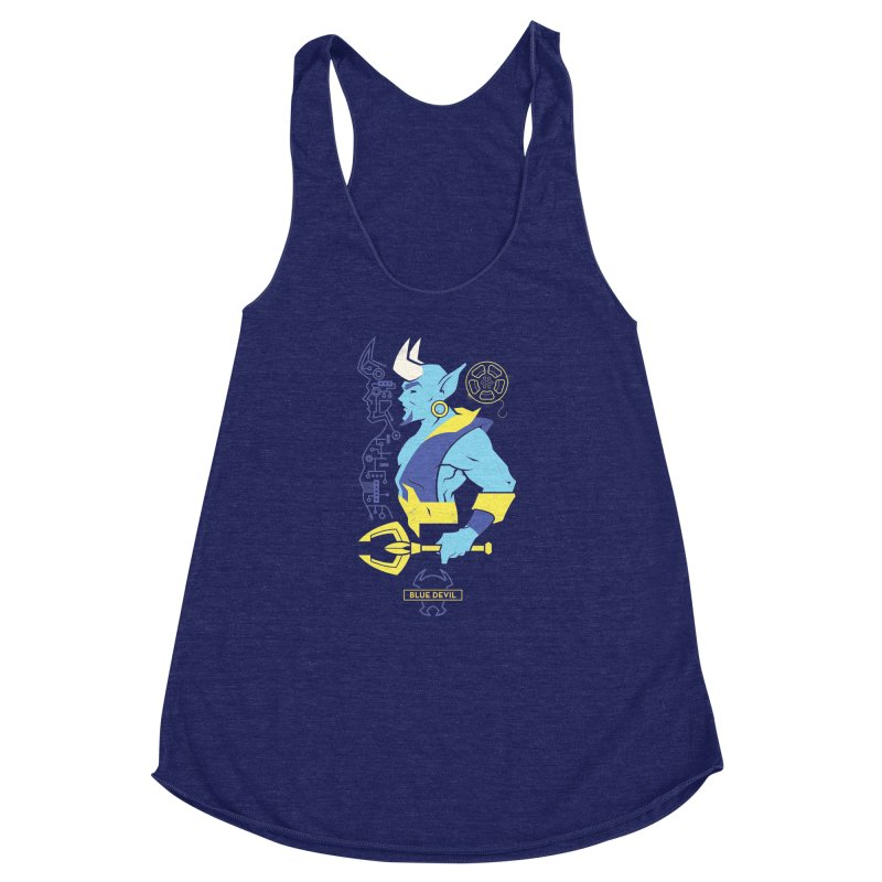 Blue Devil - DC Superhero Profiles Women's Racerback Triblend Tank by daab Creative's Artist Shop