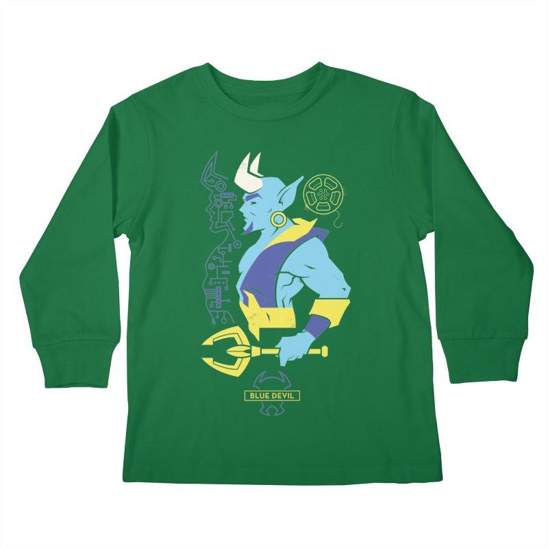 Blue Devil - DC Superhero Profiles Kids Longsleeve T-Shirt by daab Creative's Artist Shop