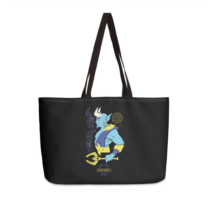 Blue Devil - DC Superhero Profiles Accessories Weekender Bag Bag by daab Creative's Artist Shop