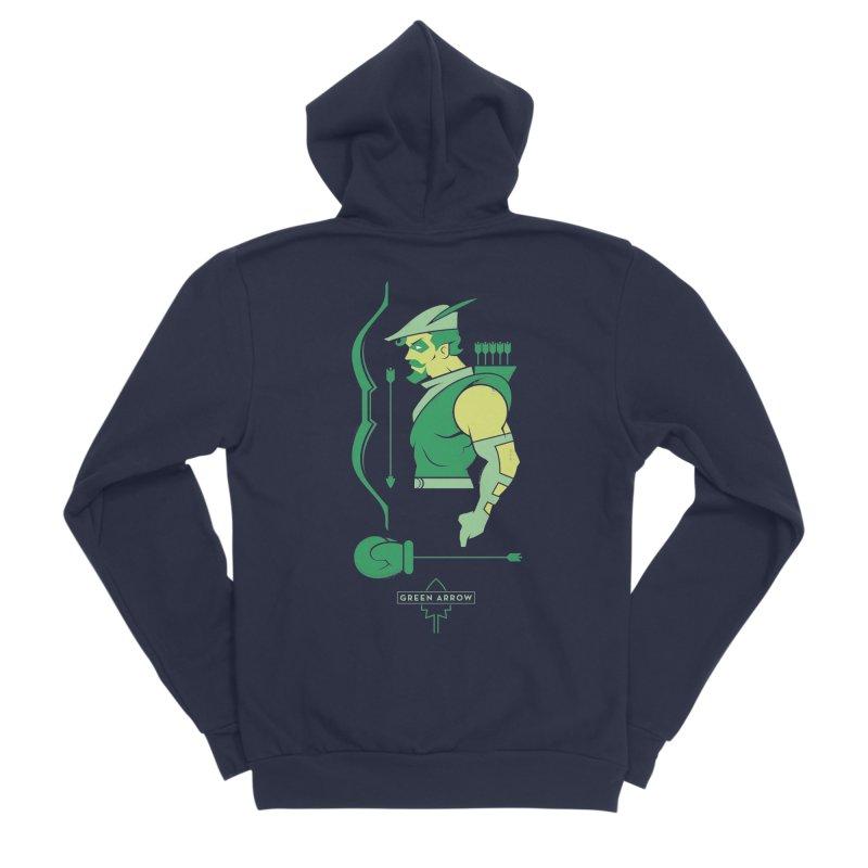Green Arrow - DC Superhero Profiles Men's Sponge Fleece Zip-Up Hoody by daab Creative's Artist Shop