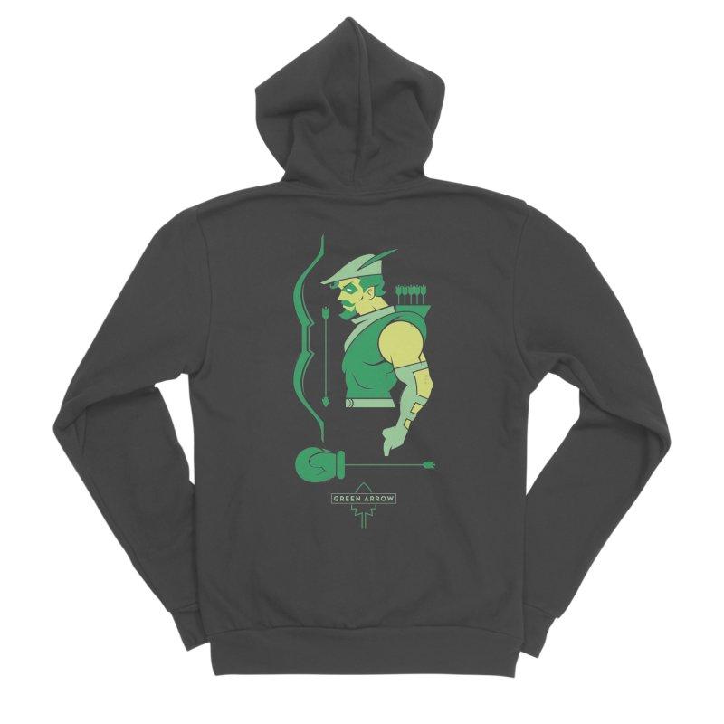 Green Arrow - DC Superhero Profiles Women's Sponge Fleece Zip-Up Hoody by daab Creative's Artist Shop