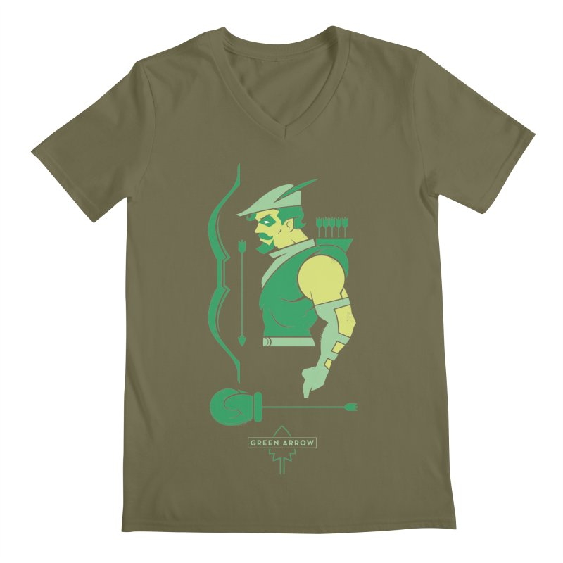 Green Arrow - DC Superhero Profiles Men's V-Neck by daab Creative's Artist Shop
