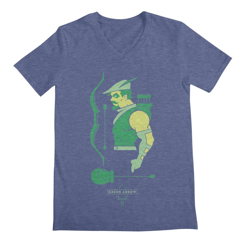 Green Arrow - DC Superhero Profiles Men's Regular V-Neck by daab Creative's Artist Shop
