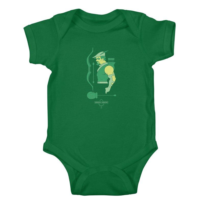 Green Arrow - DC Superhero Profiles Kids Baby Bodysuit by daab Creative's Artist Shop
