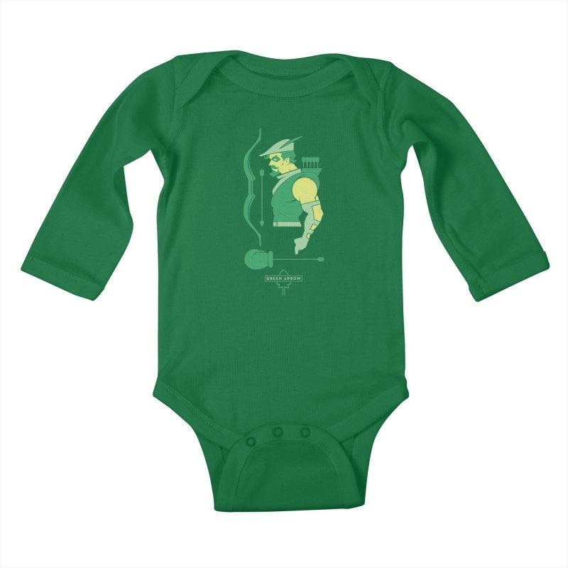 Green Arrow - DC Superhero Profiles Kids Baby Longsleeve Bodysuit by daab Creative's Artist Shop