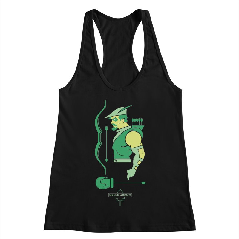 Green Arrow - DC Superhero Profiles Women's Racerback Tank by daab Creative's Artist Shop