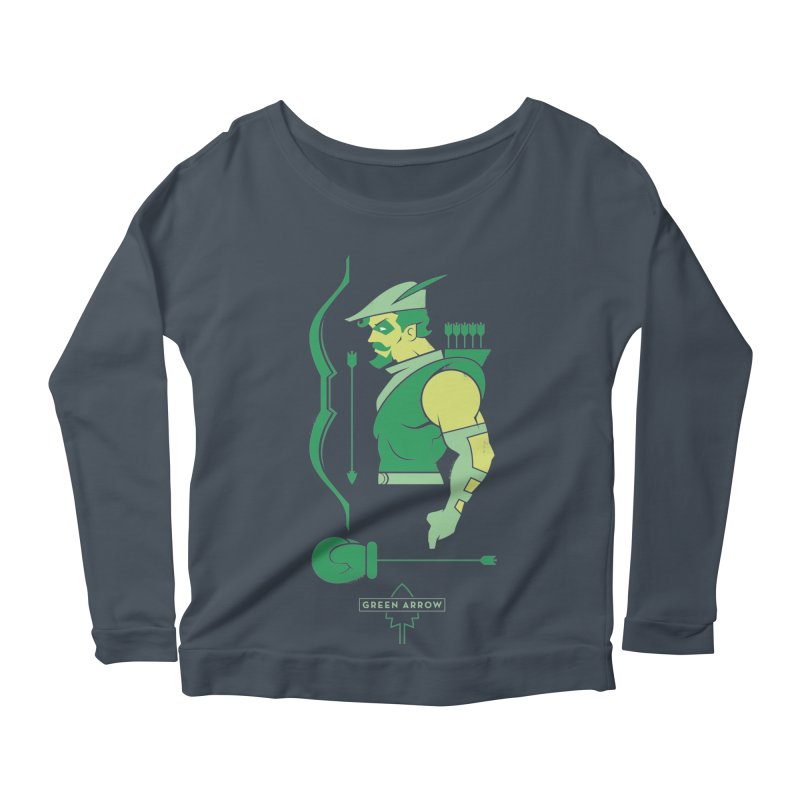 Green Arrow - DC Superhero Profiles Women's Scoop Neck Longsleeve T-Shirt by daab Creative's Artist Shop