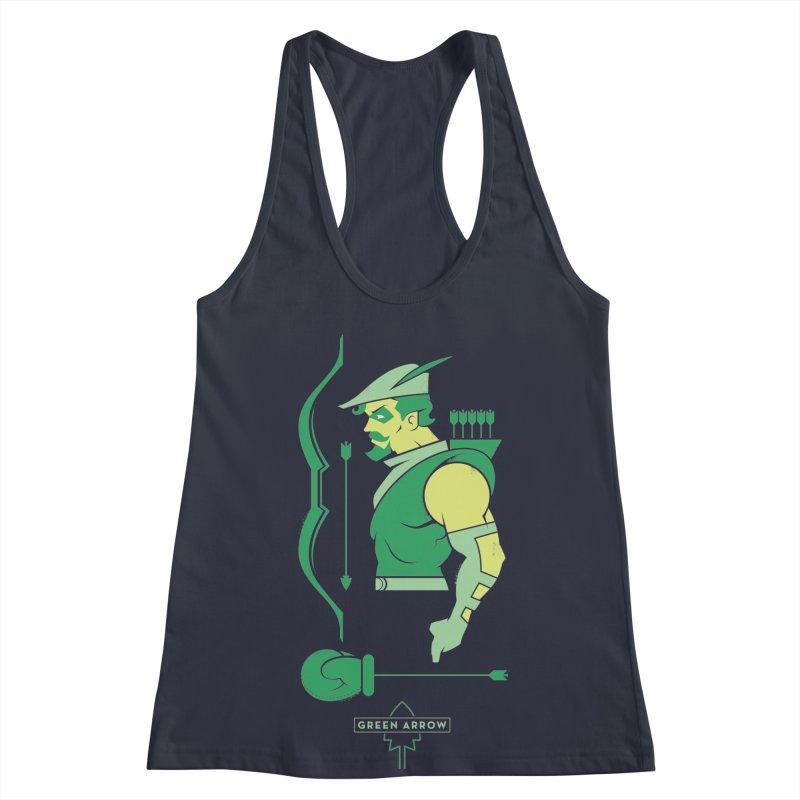 Green Arrow - DC Superhero Profiles Women's Racerback Tank by daab Creative's Artist Shop