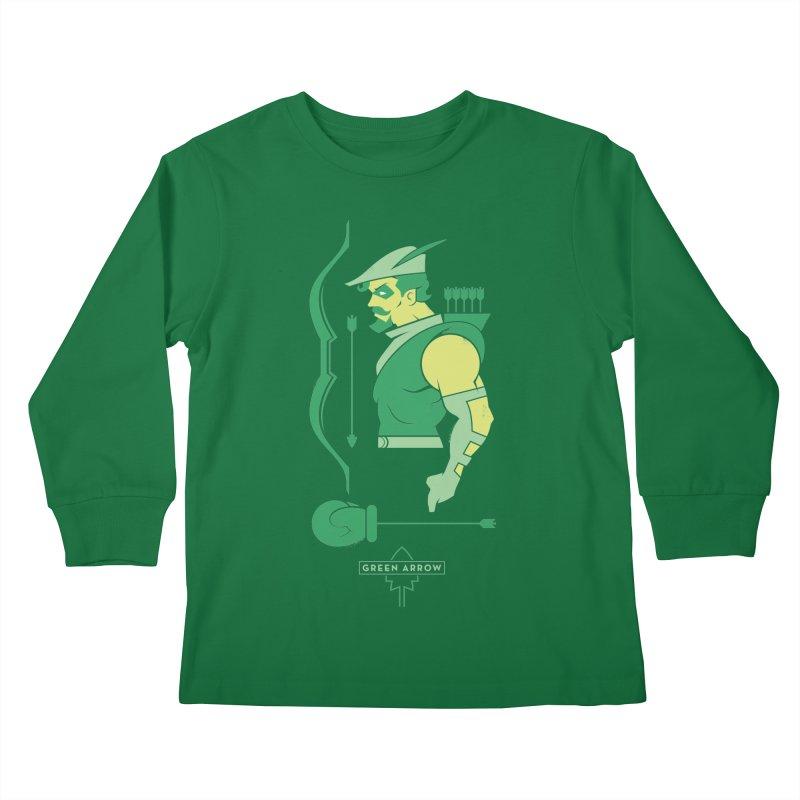 Green Arrow - DC Superhero Profiles Kids Longsleeve T-Shirt by daab Creative's Artist Shop