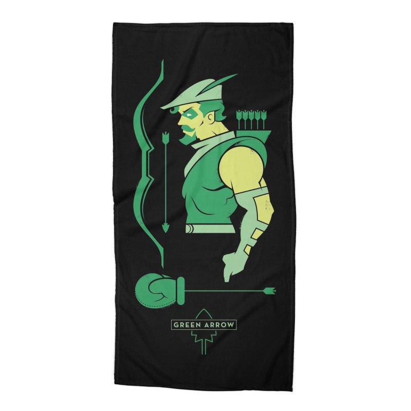 Green Arrow - DC Superhero Profiles Accessories Beach Towel by daab Creative's Artist Shop