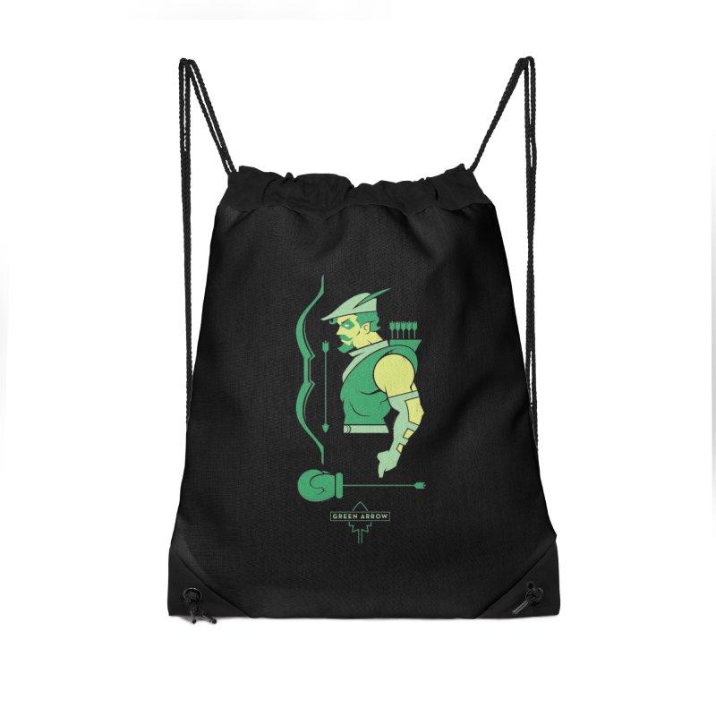 Green Arrow - DC Superhero Profiles Accessories Drawstring Bag Bag by daab Creative's Artist Shop