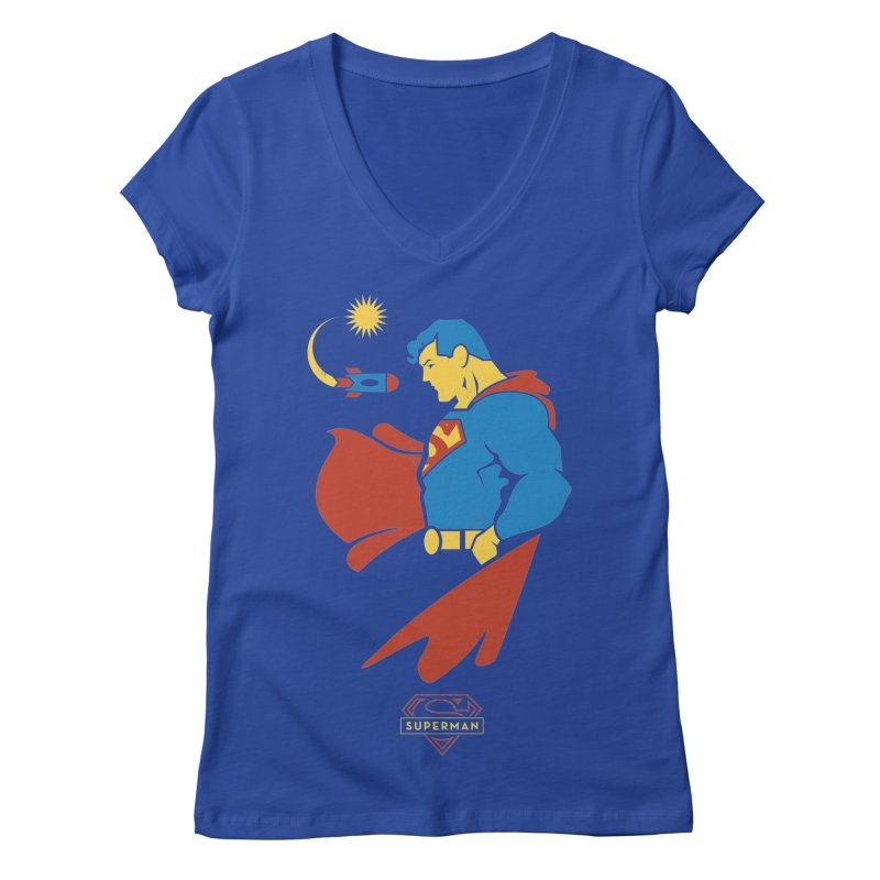 Superman - DC Superhero Profiles Women's Regular V-Neck by daab Creative's Artist Shop