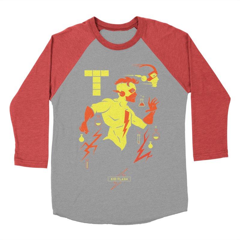 Kid Flash - DC Superhero Profiles Men's Baseball Triblend Longsleeve T-Shirt by daab Creative's Artist Shop