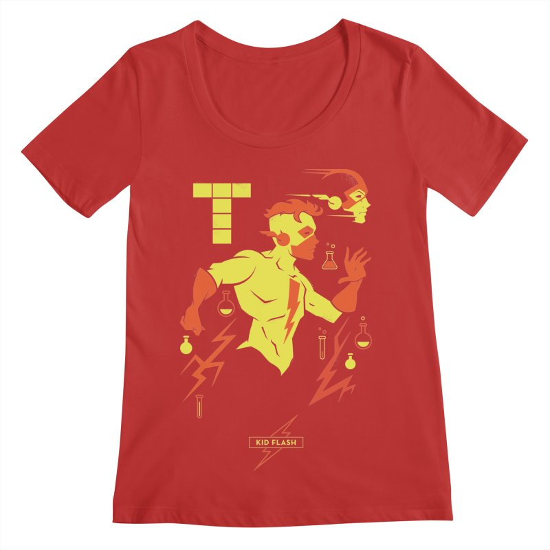 Kid Flash - DC Superhero Profiles Women's Scoop Neck by daab Creative's Artist Shop