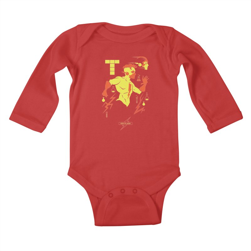 Kid Flash - DC Superhero Profiles Kids Baby Longsleeve Bodysuit by daab Creative's Artist Shop