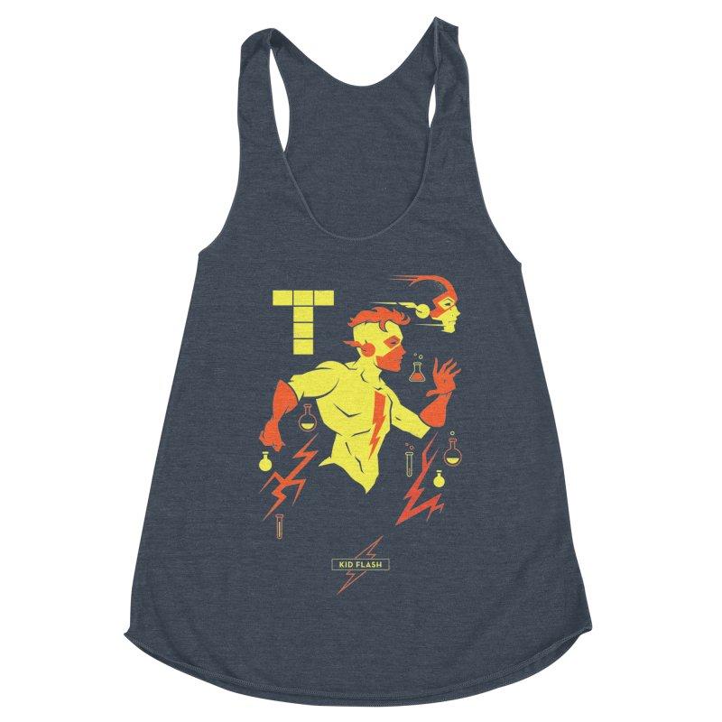 Kid Flash - DC Superhero Profiles Women's Racerback Triblend Tank by daab Creative's Artist Shop