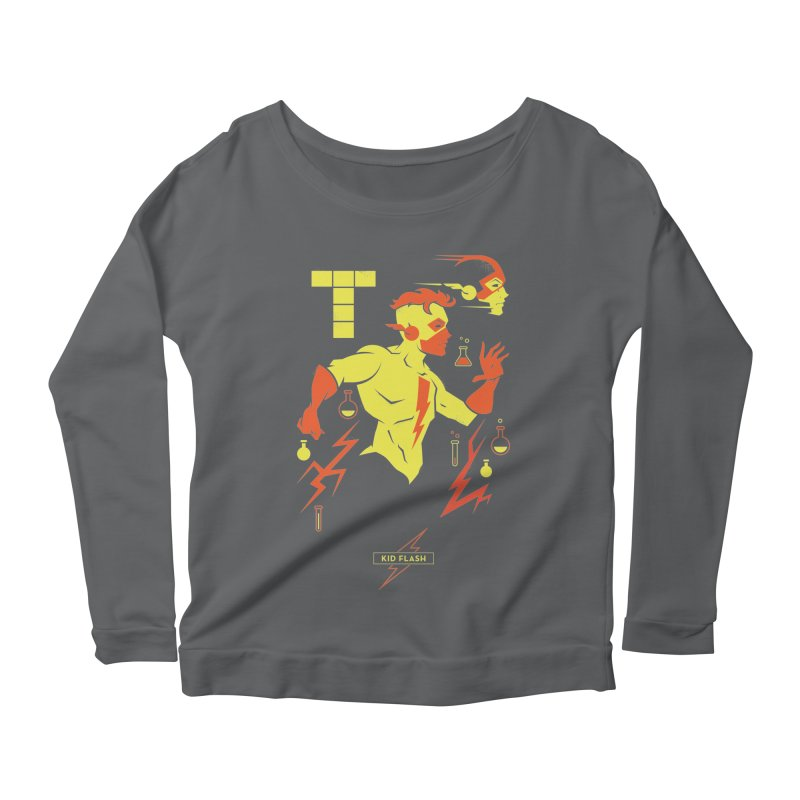 Kid Flash - DC Superhero Profiles Women's Scoop Neck Longsleeve T-Shirt by daab Creative's Artist Shop