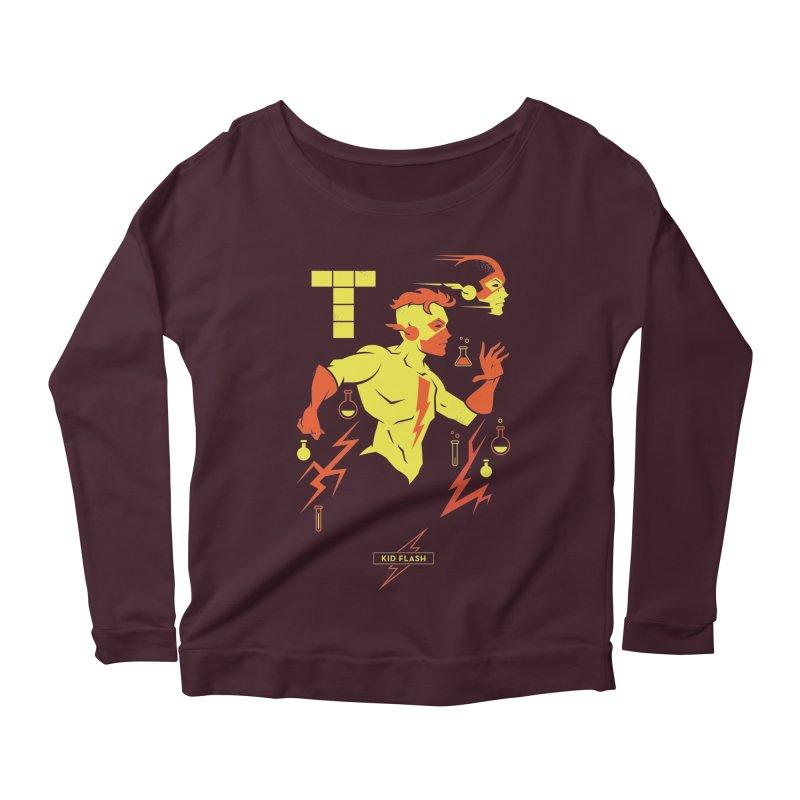 Kid Flash - DC Superhero Profiles Women's Scoop Neck Longsleeve T-Shirt by daab Creative's Artist Shop