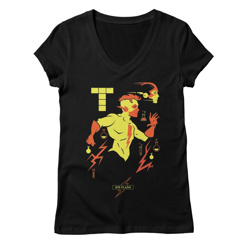 Kid Flash - DC Superhero Profiles Women's V-Neck by daab Creative's Artist Shop