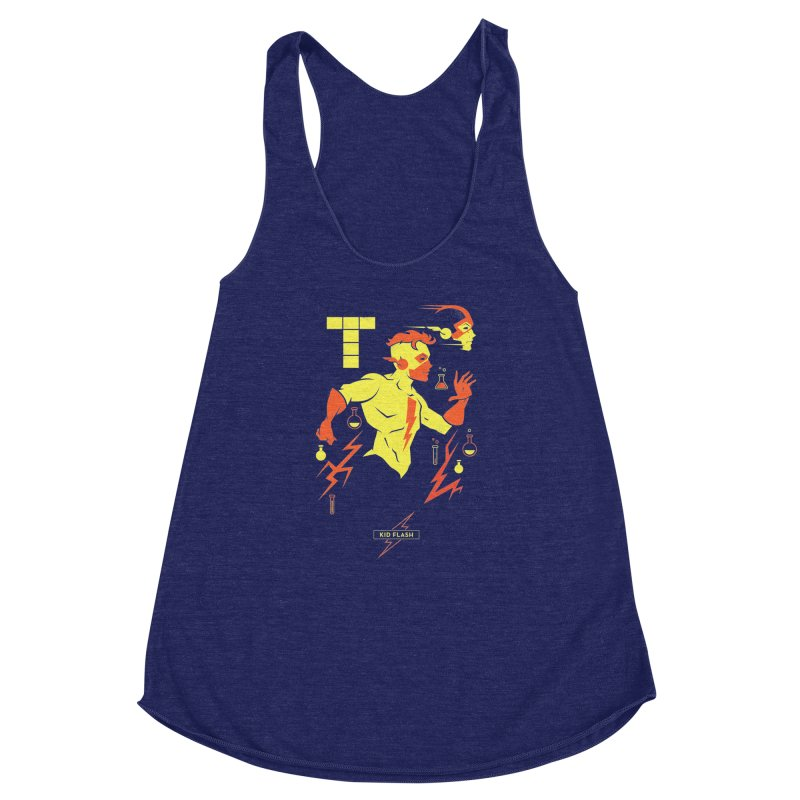 Kid Flash - DC Superhero Profiles Women's Racerback Triblend Tank by daab Creative's Artist Shop