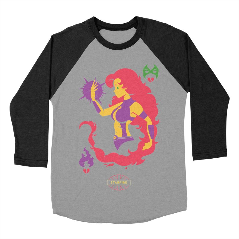 Starfire - DC Superhero Profiles Men's Baseball Triblend Longsleeve T-Shirt by daab Creative's Artist Shop