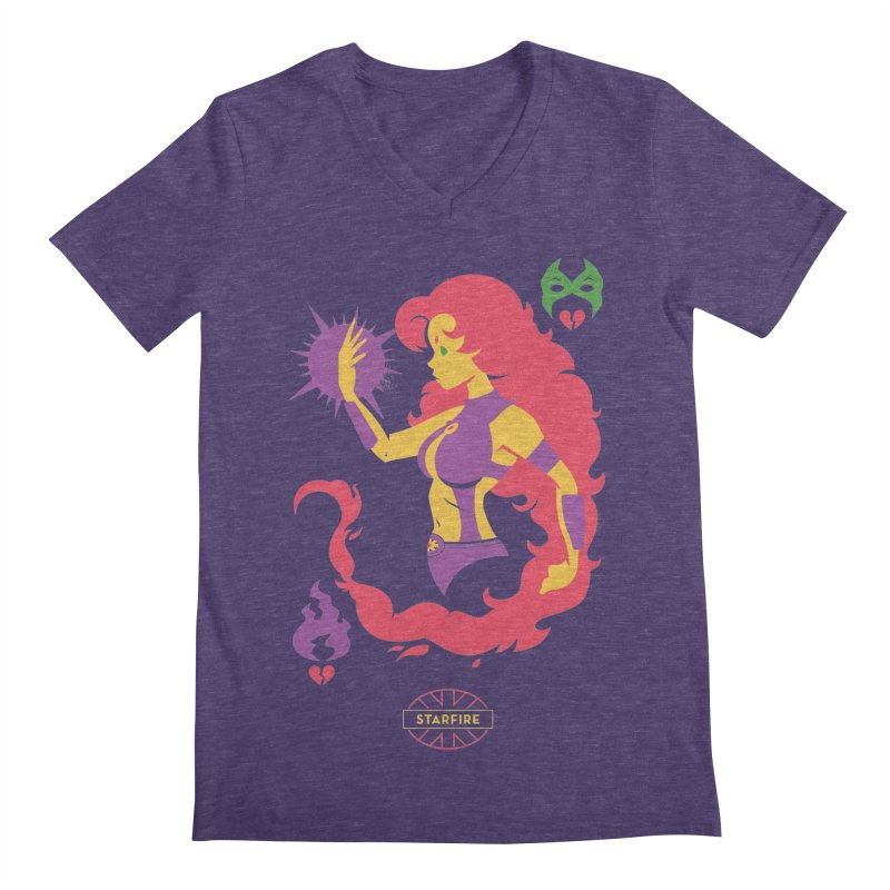 Starfire - DC Superhero Profiles Men's Regular V-Neck by daab Creative's Artist Shop