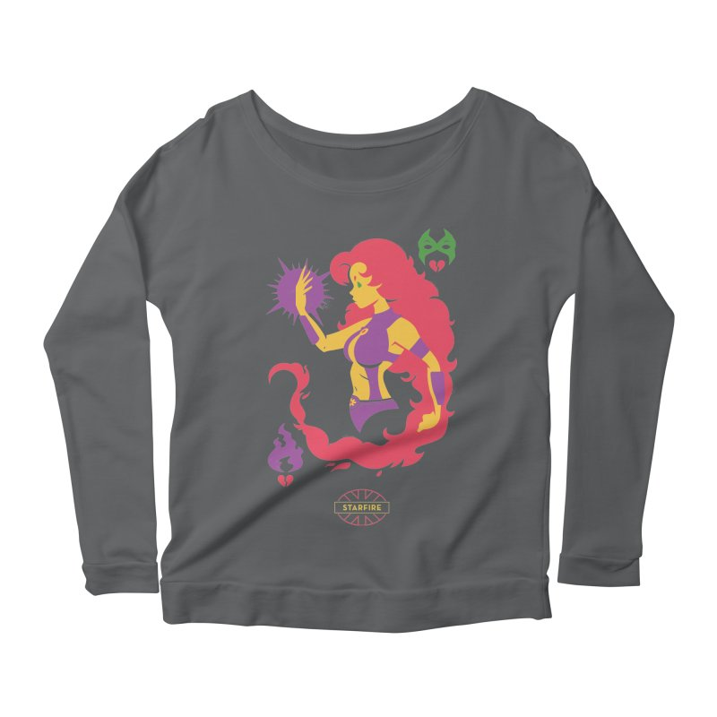Starfire - DC Superhero Profiles Women's Scoop Neck Longsleeve T-Shirt by daab Creative's Artist Shop