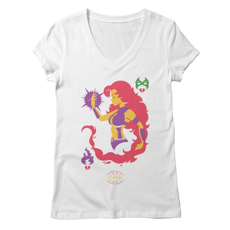 Starfire - DC Superhero Profiles Women's Regular V-Neck by daab Creative's Artist Shop