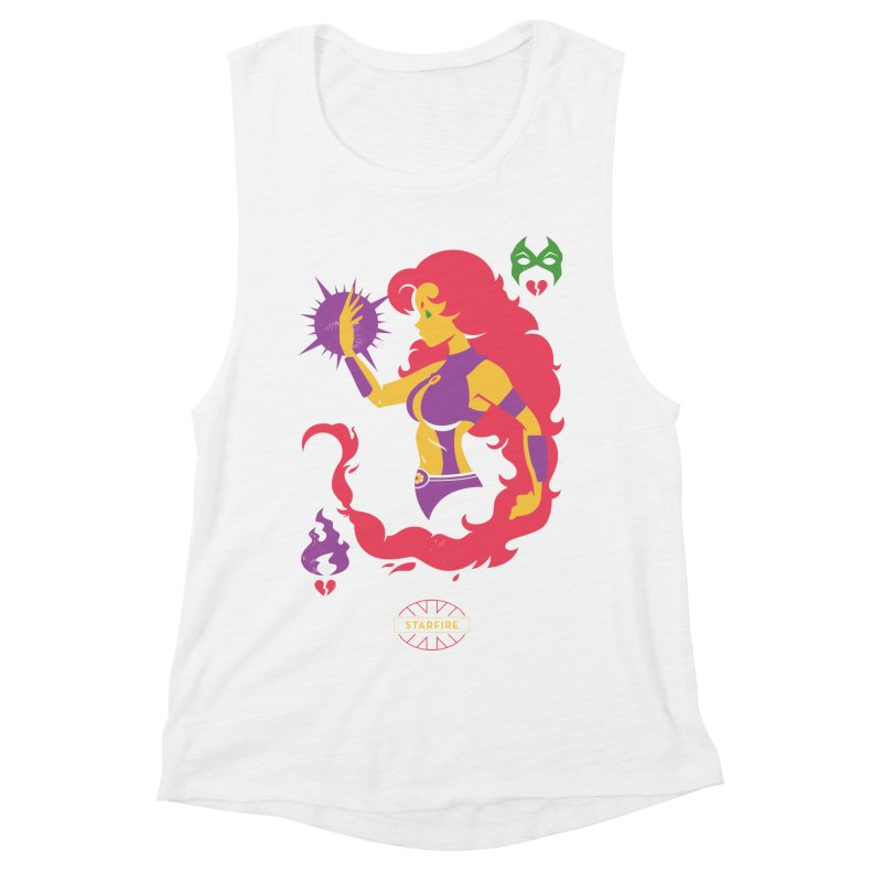 Starfire - DC Superhero Profiles Women's Muscle Tank by daab Creative's Artist Shop