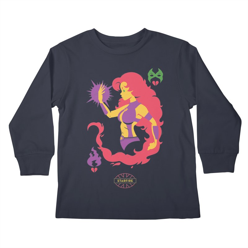 Starfire - DC Superhero Profiles Kids Longsleeve T-Shirt by daab Creative's Artist Shop