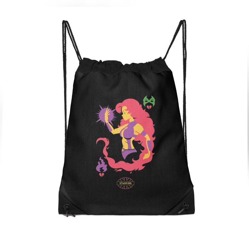 Starfire - DC Superhero Profiles Accessories Drawstring Bag Bag by daab Creative's Artist Shop