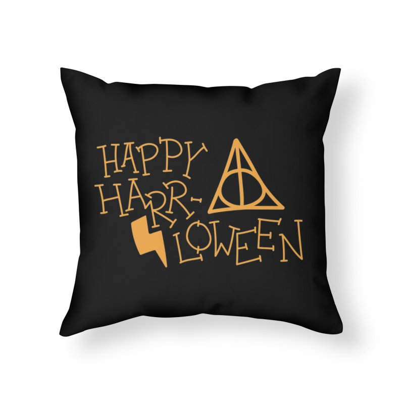 Happy Harrloween Home Throw Pillow by Daily Lovejuice Apparel