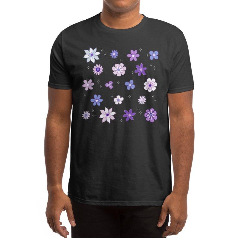 Lilac Woods Floral Pattern Men's T-Shirt by Dajon Acevedo