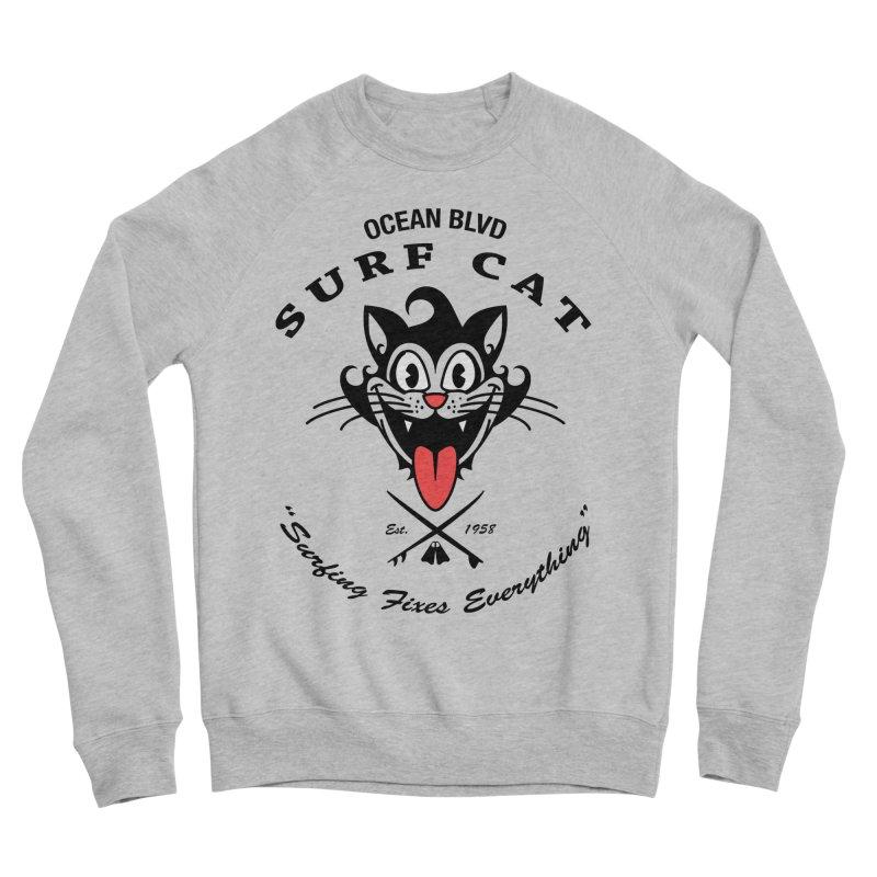 Surf Cat - happy Men's Sweatshirt by Dale Shimato's Artist Shop