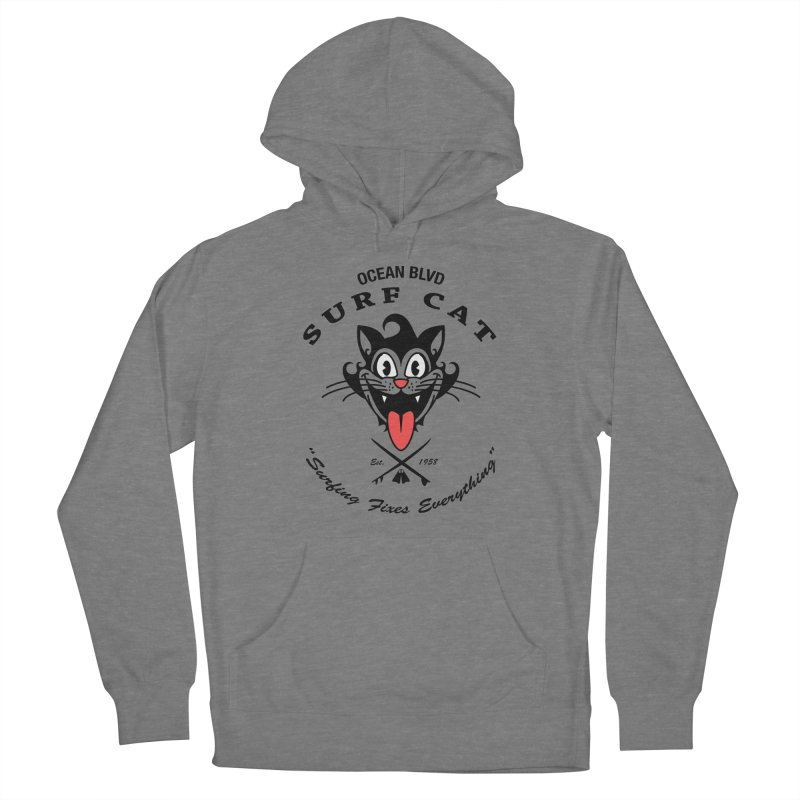 Surf Cat - happy Women's Pullover Hoody by Dale Shimato's Artist Shop