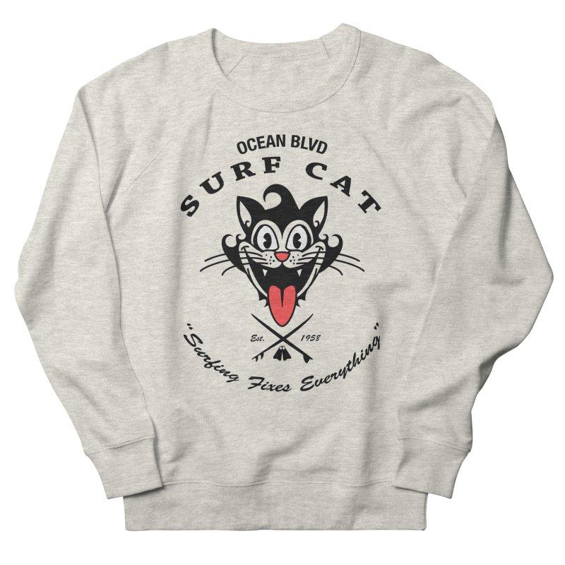 Surf Cat - happy Women's Sweatshirt by Dale Shimato's Artist Shop