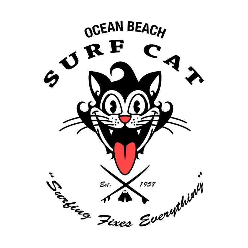 Surf Cat - happy OB Women's Longsleeve T-Shirt by Dale Shimato's Artist Shop