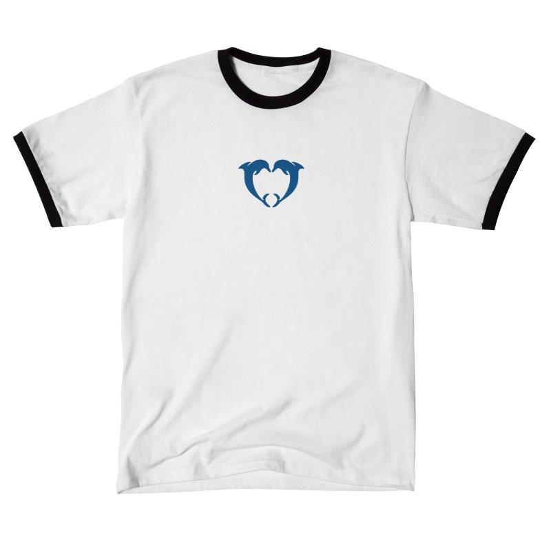 dolphin heart Men's T-Shirt by Dale Shimato's Artist Shop