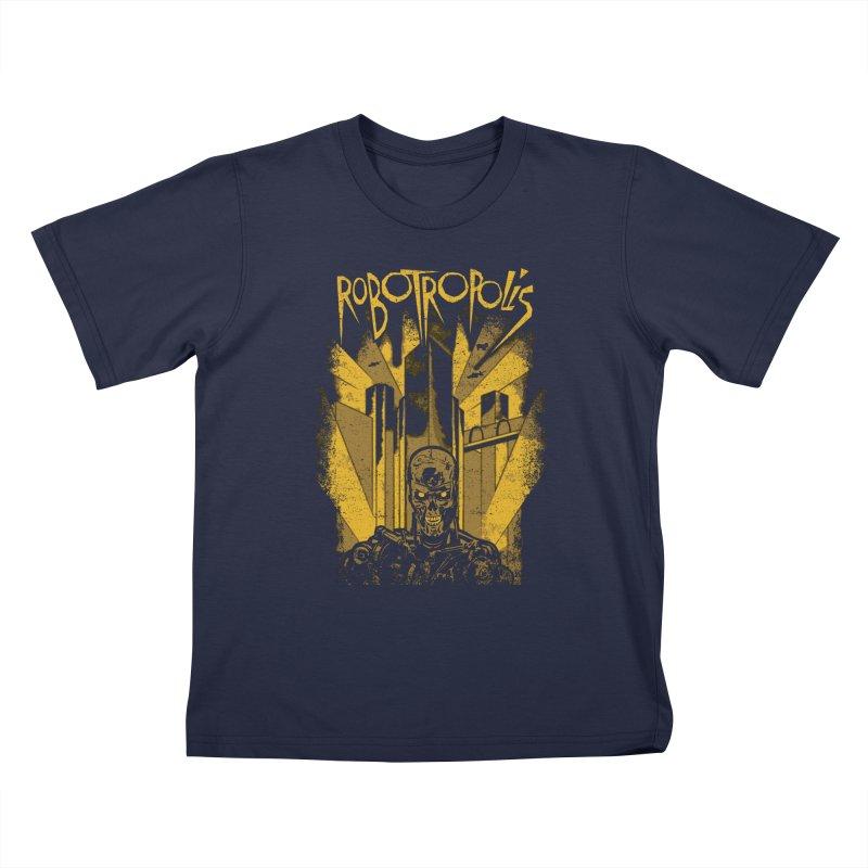 Robotropolis Kids T-Shirt by Daletheskater