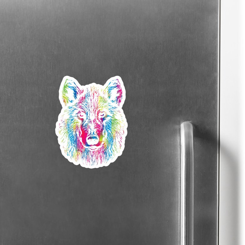 Vibrant Wolf Accessories Magnet by Daletheskater