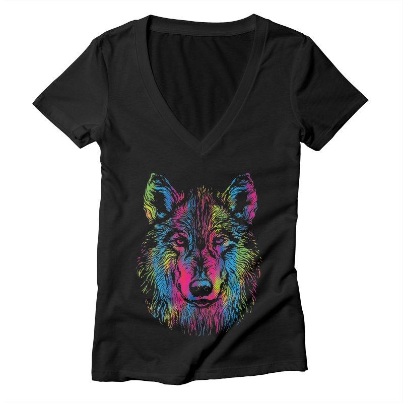 Vibrant Wolf Women's V-Neck by Daletheskater