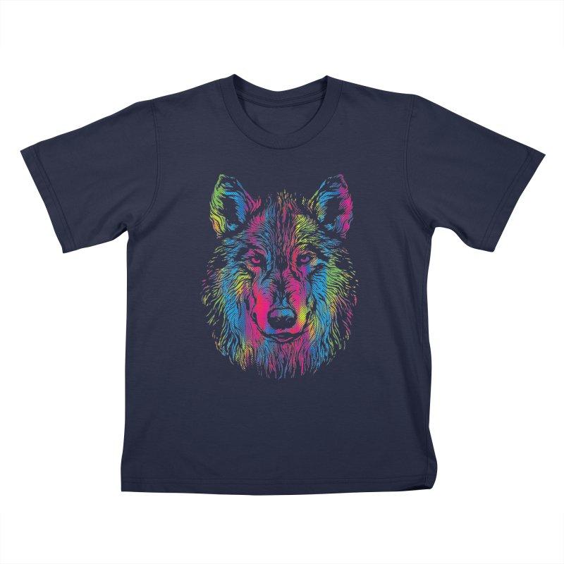 Vibrant Wolf Kids T-Shirt by Daletheskater