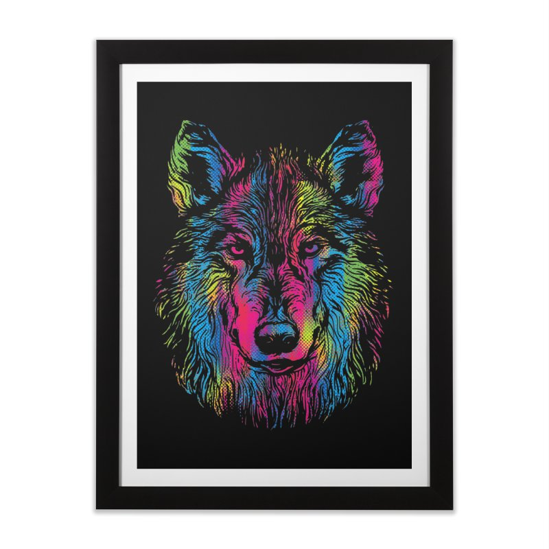 Vibrant Wolf Home Framed Fine Art Print by Daletheskater