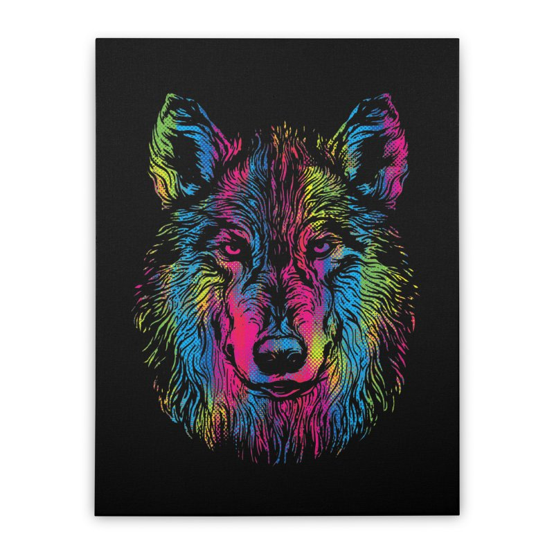 Vibrant Wolf Home Stretched Canvas by Daletheskater