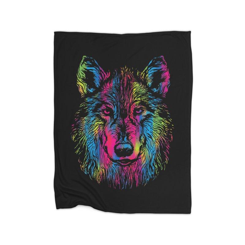 Vibrant Wolf Home Blanket by Daletheskater