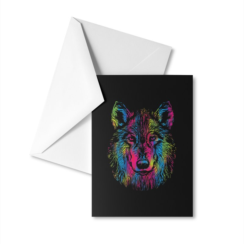 Vibrant Wolf Accessories Greeting Card by Daletheskater