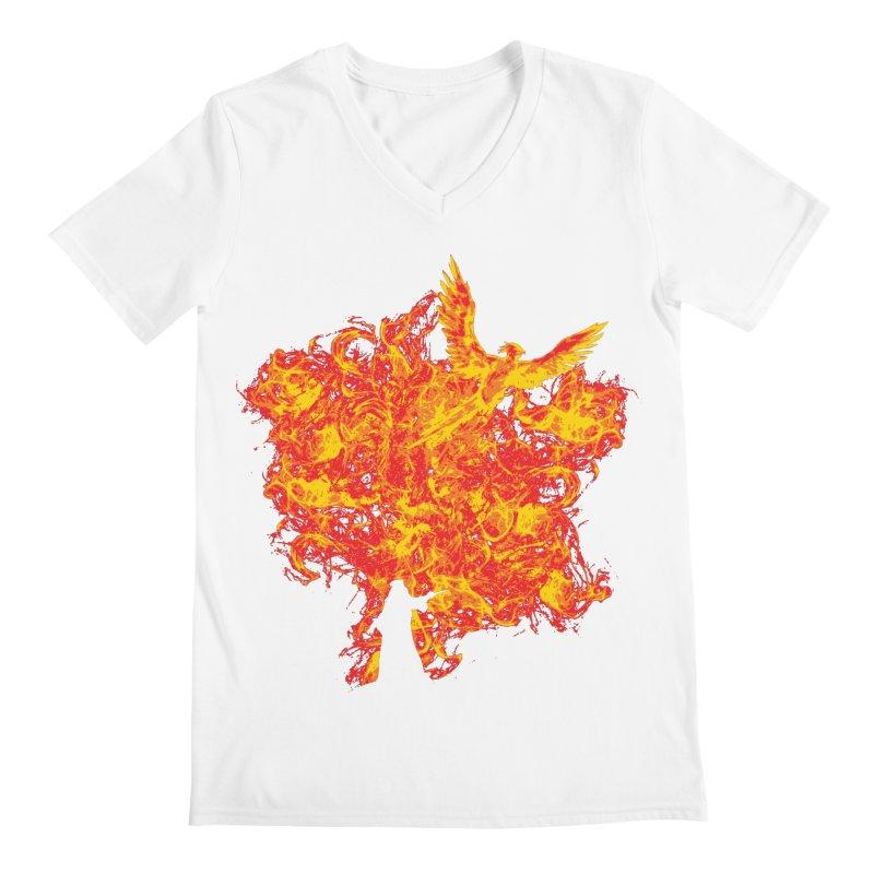 Reborn Phoenix Men's V-Neck by Daletheskater
